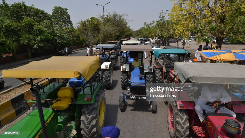 Long queues to tractor parked outside DC office during protest of Bharti Kissan Union members against diesel price hike on June 1 2018 in Jalandhar...