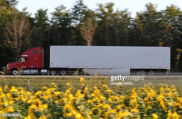Long range semi truck on the rural highway