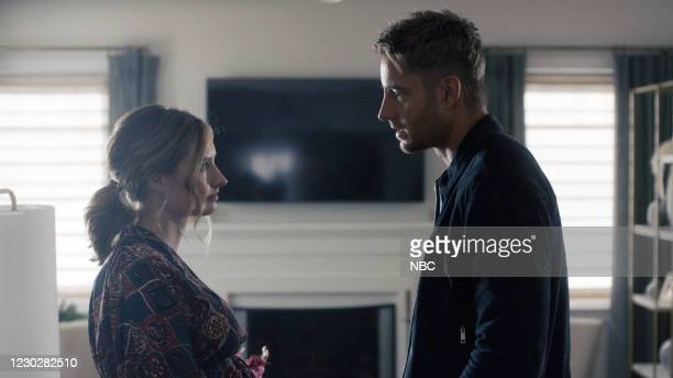 Long Road Home Episode 505 -- Pictured in this screen grab: Caitlin Thompson as Madison, Justin Hartley as Kevin --