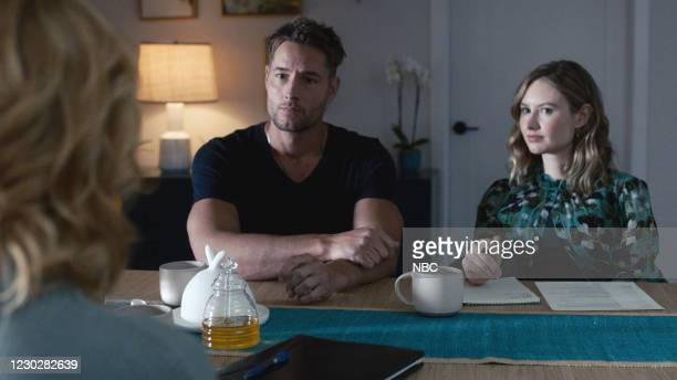 Long Road Home Episode 505 -- Pictured in this screen grab: Justin Hartley as Kevin, Caitlin Thompson as Madison --