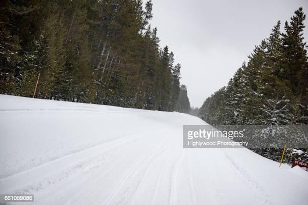 long road, lots of snow - highlywood fotografías e imágenes de stock
