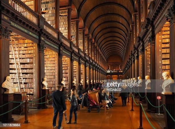 Long Room interior Old Library building 18th century Trinity College Dublin Republic of Ireland Europe