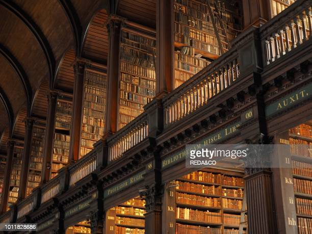 Long Room interior Old Library building 18th century Trinity College Dublin Republic of Ireland Europe