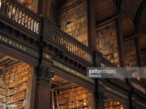 Long Room interior Old Library building 18th century Trinity College Dublin Republic of Ireland Europe.