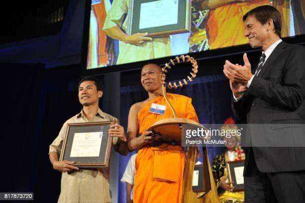 Long Sarou Venerable Bun Sarouth and Mark Tercek attend UNDP Equator Prize 2010 at The American Museum of Natural History on September 20 2010 in New...