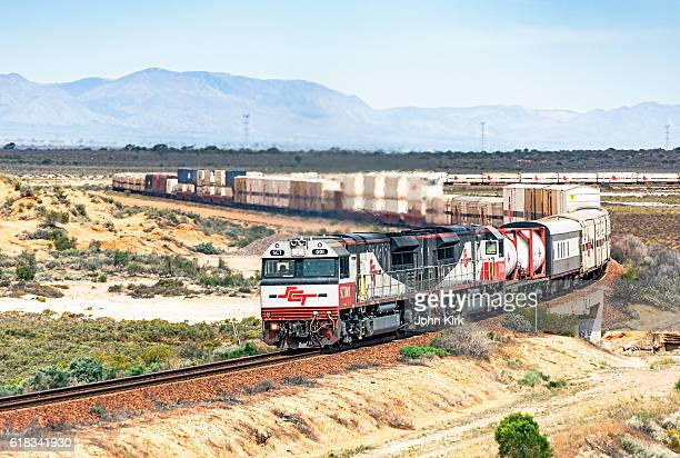 Long SCT interstate freight train in outback landscape