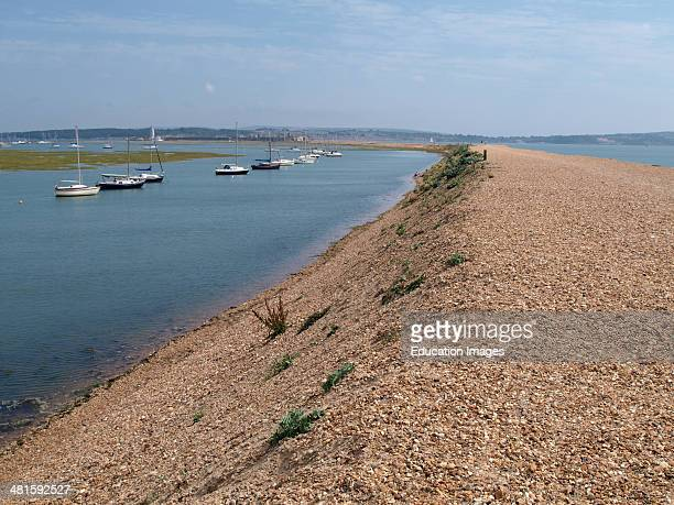 Long shingle spit with Hurst Castle at the end Milford on Sea Hampshire UK