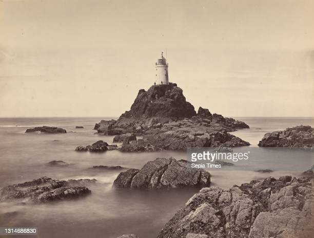 Long Ships Lighthouse off the Land's End, Cornwall, William May, active 19th century, British, 1860s, Albumen print from wet collodion negative on...