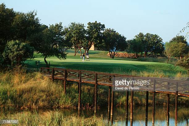long shot of a father and son playing golf - pretoria stock pictures, royalty-free photos & images