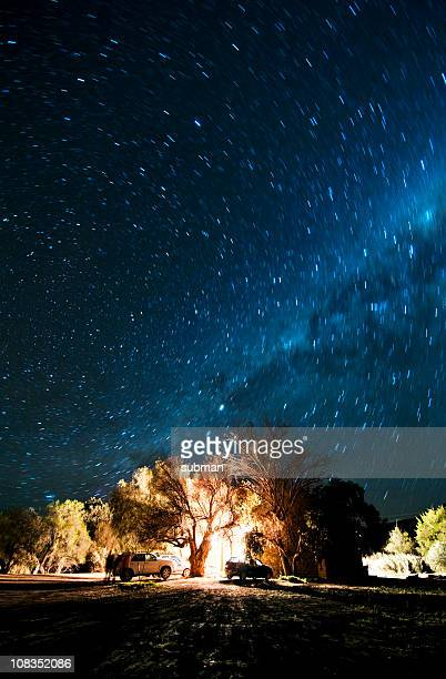 long shot of ground under starry milky way sky. - the karoo stock photos and pictures