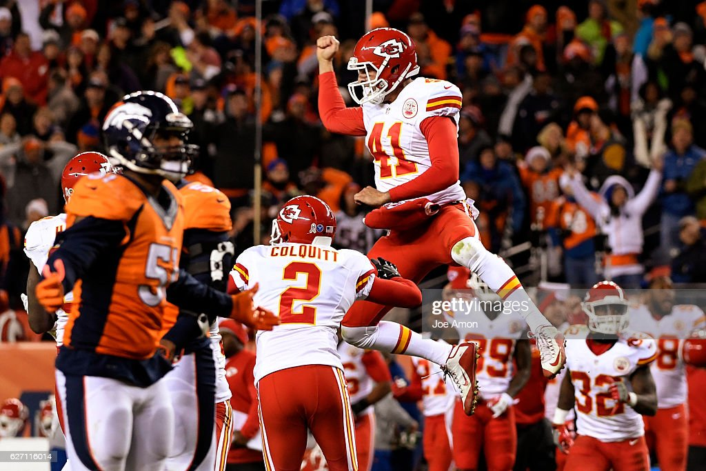 long snapper James Winchester (41) of the Kansas City Chiefs sails in the air celebrating the Chiefs' 30-27 win on Sunday, November 27, 2016. The Denver Broncos hosted the Kansas City Chiefs.