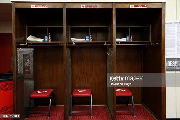 Long snapper James Winchester punter Dustin Colquitt and place kicker Cairo Santos' lockers inside the team's locker room at Arrowhead Stadium home...