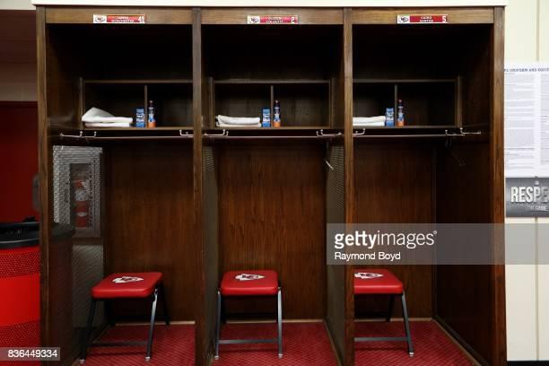 Long snapper James Winchester, punter Dustin Colquitt and place kicker Cairo Santos' lockers inside the team's locker room at Arrowhead Stadium, home...