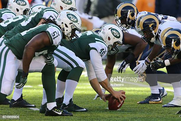 Long Snapper Tanner Purdum of the New York Jets in action against the Los Angeles Rams at MetLife Stadium on November 13 2016 in East Rutherford New...