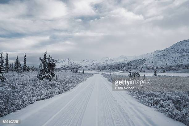 long snow covered road - descrição geral - fotografias e filmes do acervo