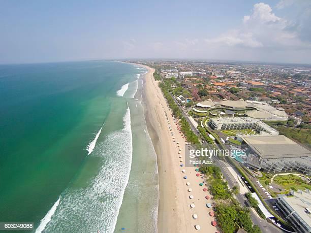 A long stretch beach of Kuta Beach, aerial view'n