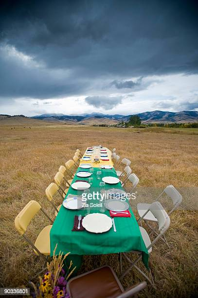long table set for dinner in open field