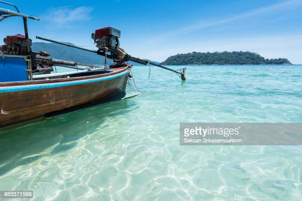 Long tail boats on the beach, Lipe Island, Stun, Thailand