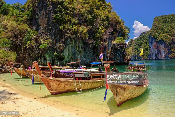 Long tail boats Paradise Island Andaman Sea Krabi Province Thailand