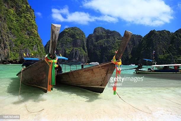 Long tail wooden boats