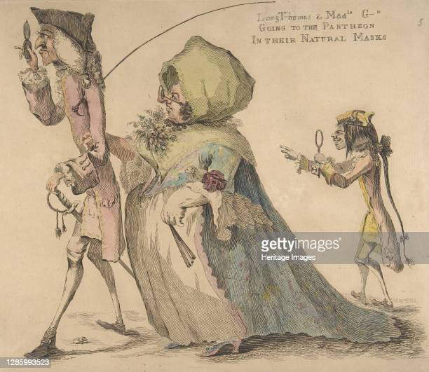 Long Thomas and Mad-le G-d Going to the Pantheon in Their Natural Masks, May 1, 1773. Artist William Austin.