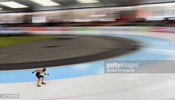 Long time exposed picture shows Germany's Nico Ihle skating during his men 500 meter race of the Speed Skating World Cup Single Distances competition...
