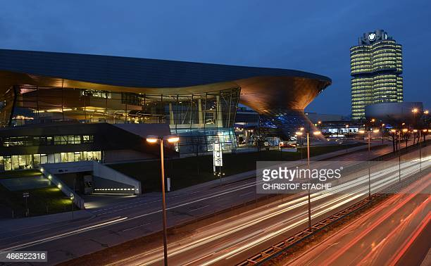 Long time exposure of the BMW World delivery center near the company's headquarters in Munich southern Germany on March 16 2015 The company's annual...