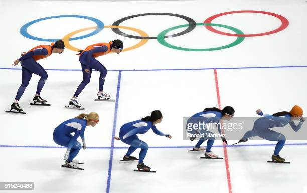 Long Track Speed Skating competitors train ahead of the PyeongChang 2018 Winter Olympic Games at Gangneung Oval on February 7 2018 in Pyeongchanggun...