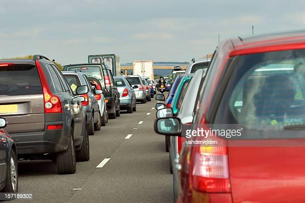 Long traffic jam on the motorway