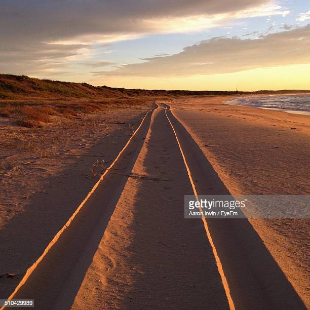 Long trails on shore at beach