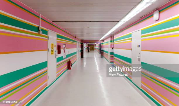 Long view of 10th floor corridor. St Mary's Hospital, London, United Kingdom. Architect: Bridget Riley, 2014.