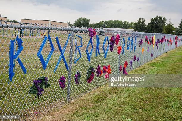 Long view of flower garden created by elementary and middle school aged students in the summer program at the Roxboro Road Schools yarn bombing...