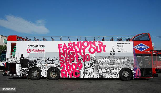 A long view of the Gray Line Doubledecker Bus for Payless Exclusive Sponsor of the Official Ride for 'Fashion's Night Out' at Gray Line Bus on August...