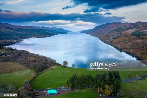long view of the loch - loch ness stock pictures, royalty-free photos & images