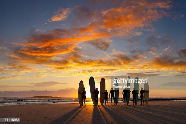 longboard sunrise - breaking wave stock pictures, royalty-free photos & images