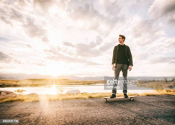 Longboarder at Sunset