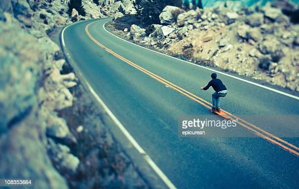 Longboarding (skateboarding) on the open road