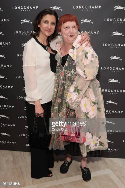 Longchamp artistic director Sophie Delafontaine and Lynn Yaeger attend the opening of Longchamp Fifth Avenue Flagship at Longchamp on May 3 2018 in...