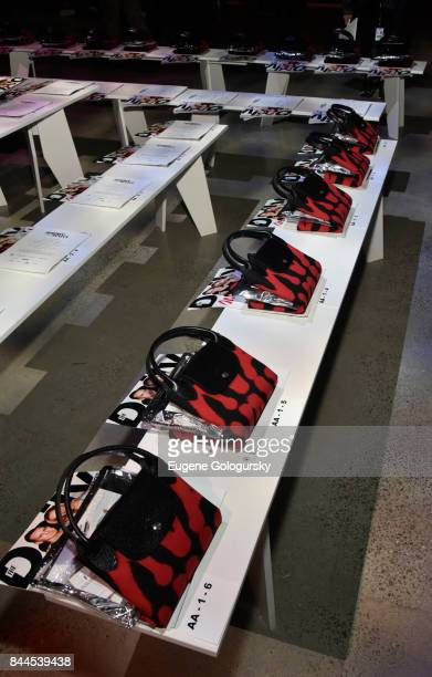 Longchamp bags on the front row at the Jeremy Scott fashion show during New York Fashion Week The Shows on September 8 2017 in New York City at...