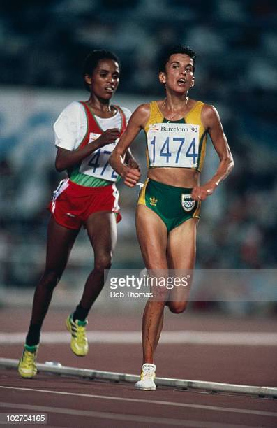 Longdistance runners Derartu Tulu of Ethiopia and Elana Meyer of South Africa competing in the 10000 metre event at the Estadi Olimpic de Montjuic at...