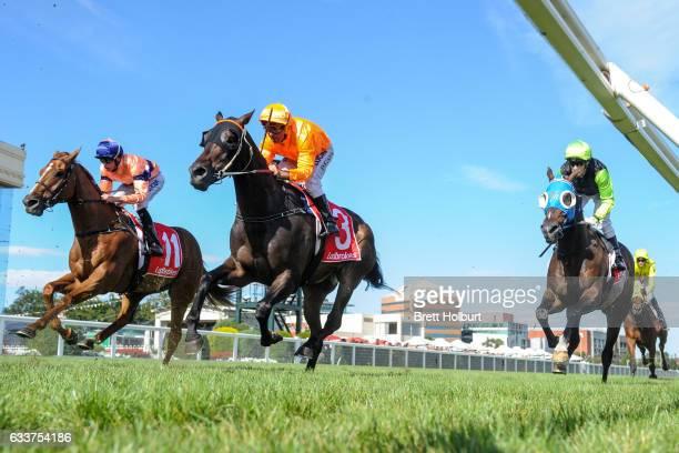 Longeron ridden by Darren Gauci in his last race Darren Gauci Farewell Handicap at Caulfield Racecourse on February 04 2017 in Caulfield Australia