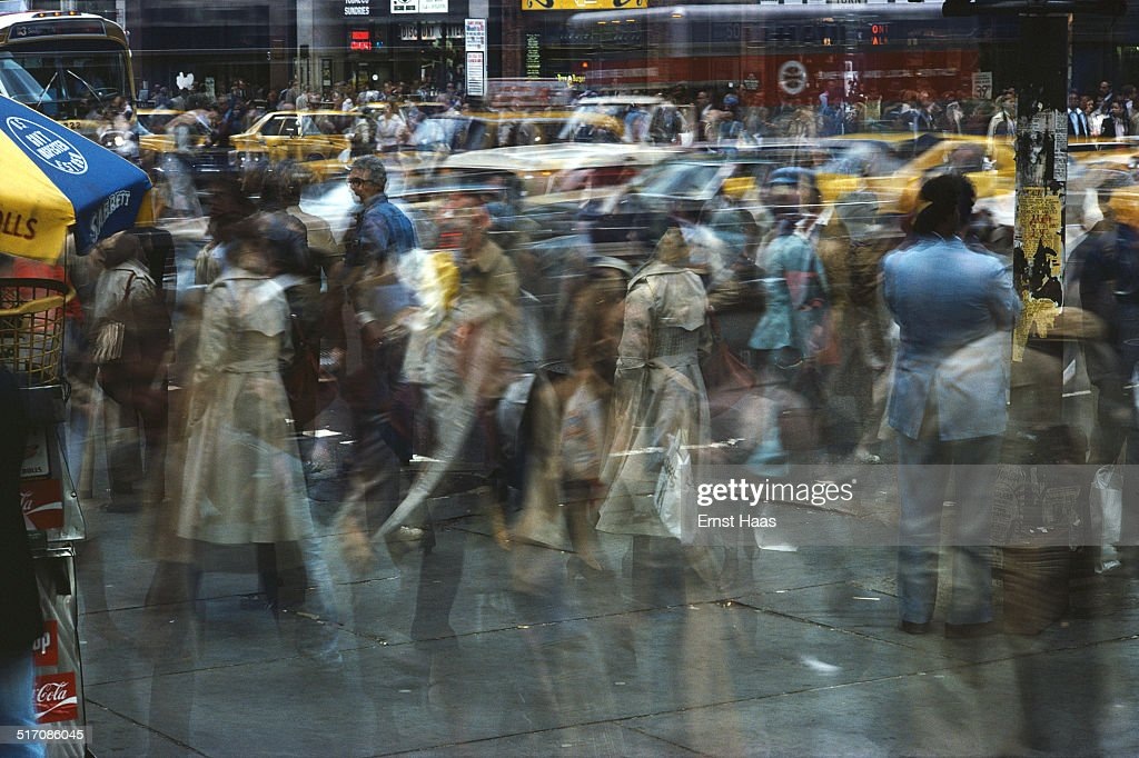 A long-exposure image of a busy street crossing in New York City, May 1978.