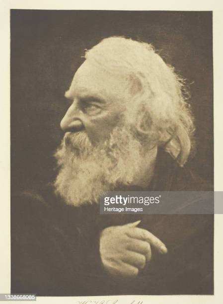 Longfellow printed circa 1893. A work made of photogravure, plate 18 from the album 'Lord Tennyson and his friends' ; edition 138/140. Artist Julia...