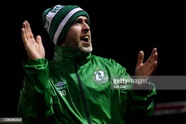Longford , Ireland - 23 October 2021; Shamrock Rovers manager Stephen Bradley celebrates after his side's victory in their SSE Airtricity League...