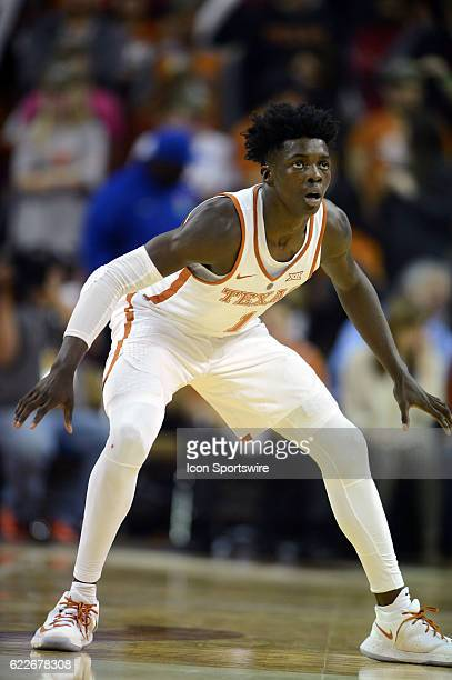 Longhorn freshman guard Andrew Jones defends during game between the Texas Longhorns and the University of Incarnate Word on November 11 2016 at the...