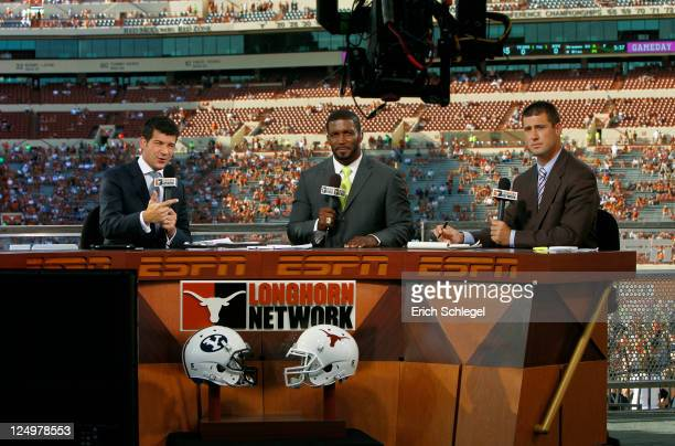 Longhorn Network broadcasters Lowell Galindo Priest Holmes and Joey Harrington report on the Texas GameDay set before the NCAA game between the Texas...