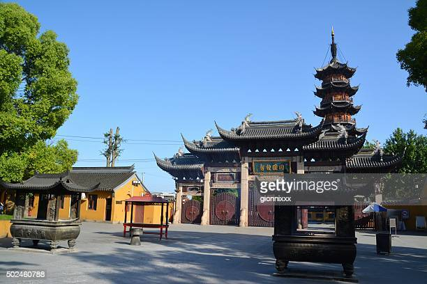 longhua temple, shanghai china - longhua temple stock photos and pictures