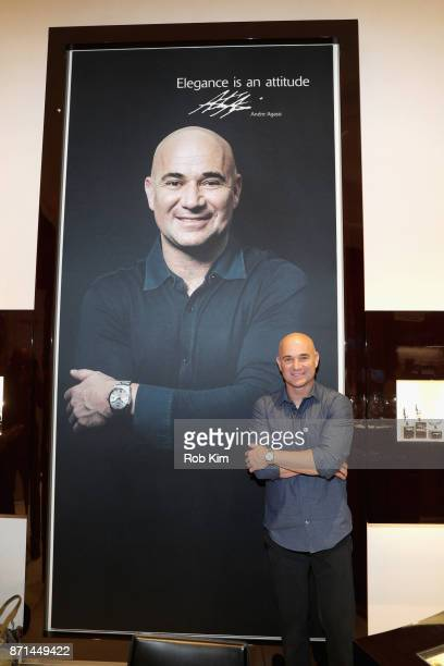 Longines Ambassador of Elegance Andre Agassi appears as Longines launches the Conquest VHP at the Longines Boutique at the Westfield World Trade...