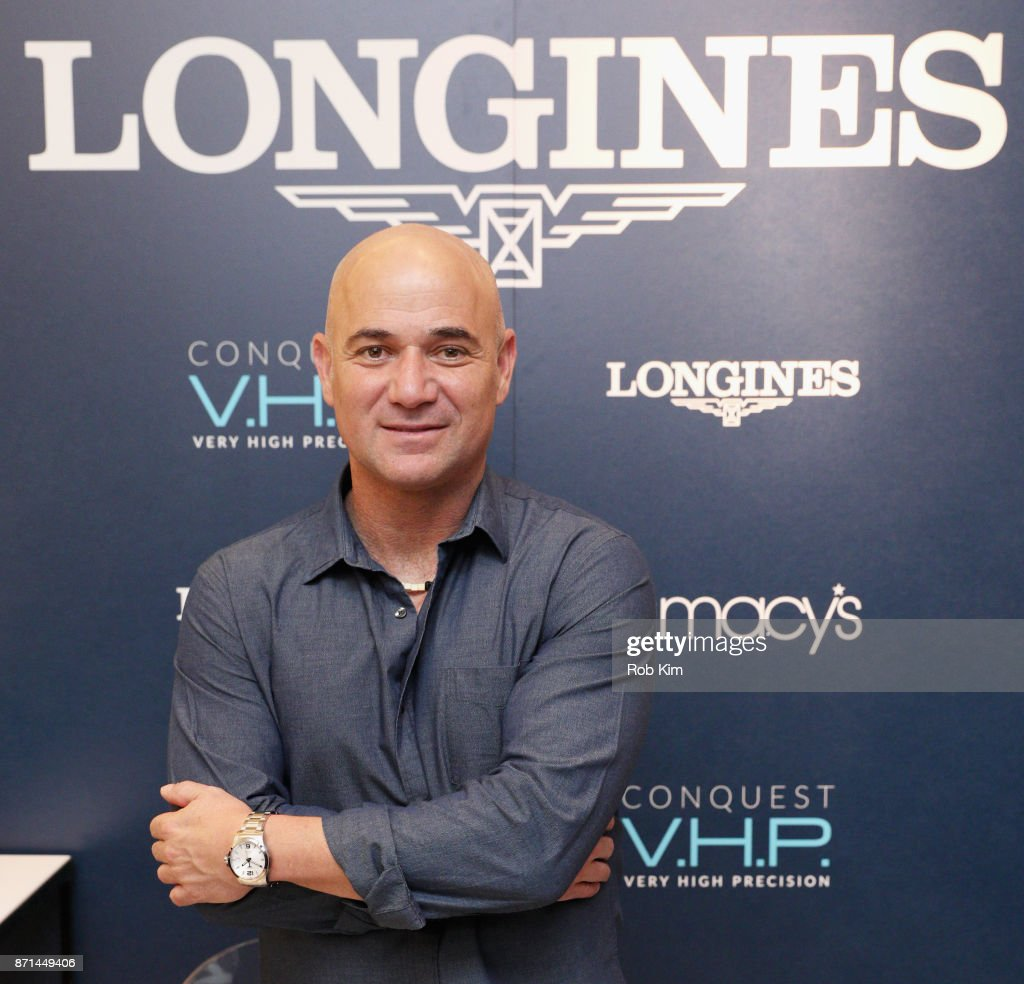 Longines Ambassador of Elegance, Andre Agassi appears at Macys Herald Square for the U.S. launch of the Conquest V.H.P. on November 7th, 2017 in New York City.