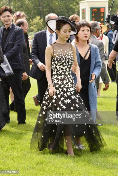 Longines ambassador of Elegance chinese actress Zhao Liying attends the Prix de Diane Longines 2018 at Hippodrome de Chantilly on June 17 2018 in...